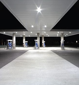 A gas station with our lighting services in Indianaopolis, IN